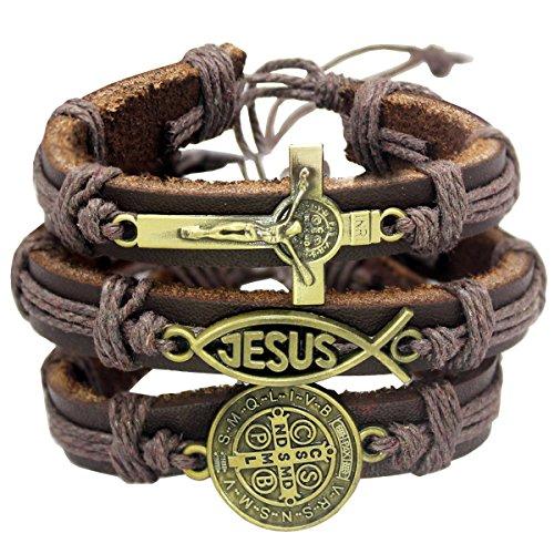 - RechicGu Gold Pack3 Catholic Religious Church Christian Jesus Fish Cross St. Benedict Medal Leather Bracelet Bangle Cuff