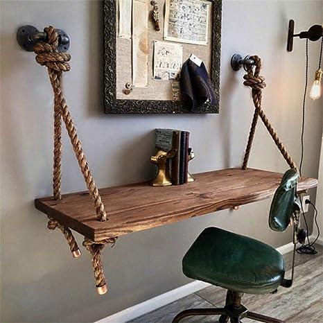 Amazon.com: Hemp Rope Solid Wood Wall Adjustable Hanging ...