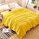Znzbzt Solid color coral fleece blankets 1.2 single student hostels and plush linens 1.8 1.5 winter flannel blanket 2m ,180x200cm- solid-colored cloud mink cashmere, lemon yellow