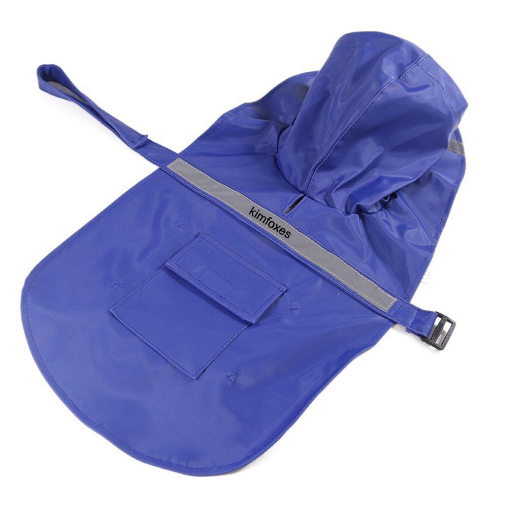 Kimfoxes Dog Raincoats Fashion Dog Rain Poncho Reflective Strips and PU Waterproof Raincoat for Dogs(XL, Blue)