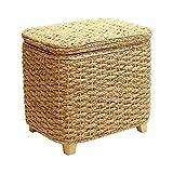 GRAS Handmade rectangular brown banana leaf entryway storage bench/Large storage bench/handmade Stool/Wooden chair/wedding gift/Country decor
