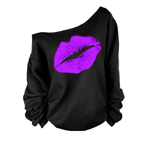 c7046ac34bb Women s Sexy Pullover Lips Print Casual Off The Shoulder Slouchy Shirt Plus  Size at Amazon Women s Clothing store