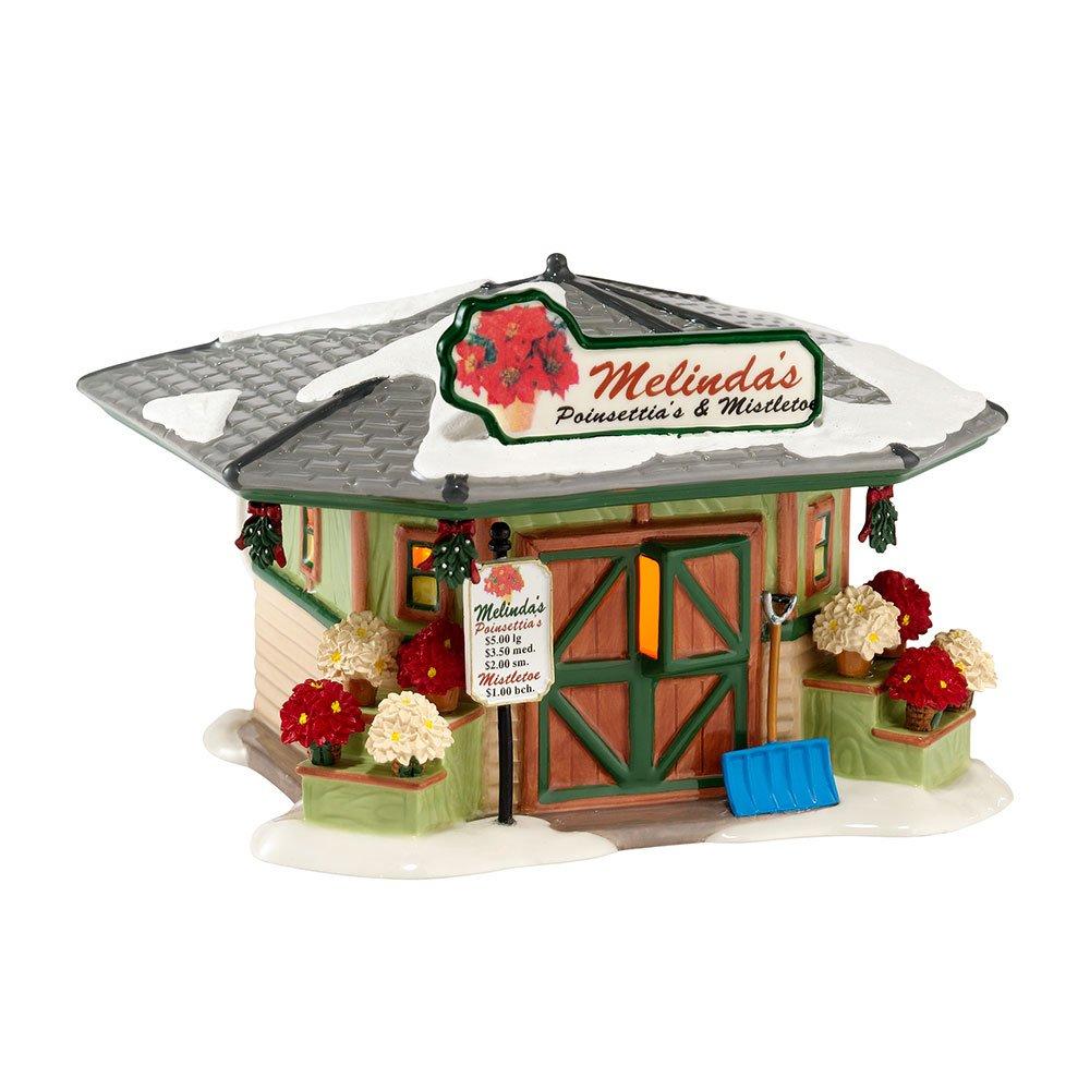 Department 56 Snow Village Melinda's Poinsettias and Mistle Lit House, 4.53 inch