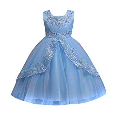 ef27d40e14 Kids Toddler Baby Girls Dresses Sleeveless Solid Lace Print Princess Party  Formal Clothes
