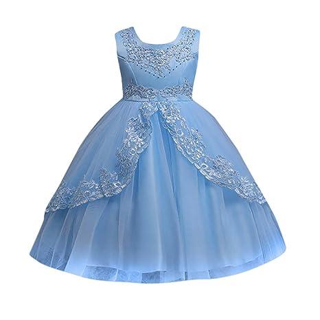 YpingLonk Tutú Vestido de Flores para Bodas De Princesa Vestido Encaje Malla Brillantes para Niña Falda de Chica Color Sólido Vestido de Dama de Honor ...