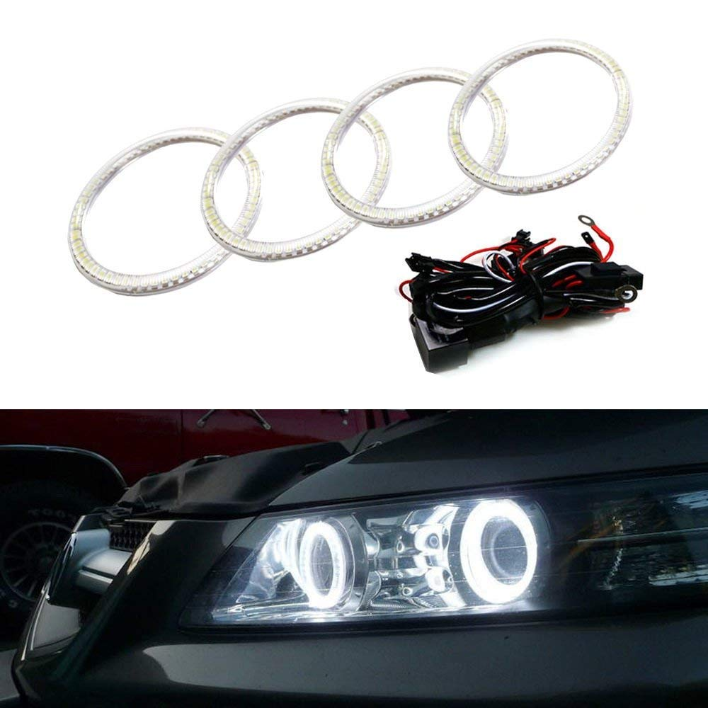 Ijdmtoy 7000k Xenon White Led Angel Eye Halo Rings Kit 2006 Acura Tl Headlamp Wiring Harness For 2007 2008 Or Type S Retrofit Required Automotive