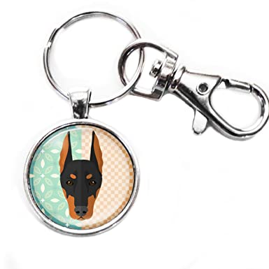 Amazon.com: Cute Doberman Pinscher – Plata Llavero con ...