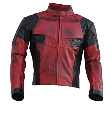 Chaqueta para hombre Deadpool de Classyak, chaqueta de motociclista, de piel, de alta calidad