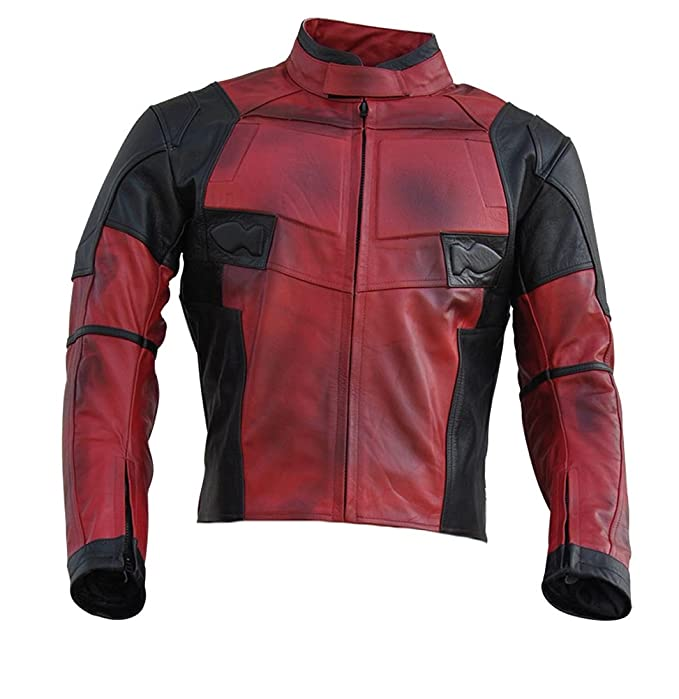 Classyak Mens DP Real Leather Motorcycle Jacket Red at Amazon Mens Clothing store: