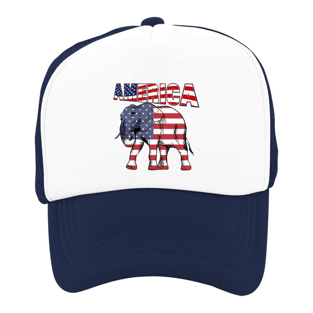 Kids Baseball Cap American Flag Elephant Classic Mesh Outdoor Hat