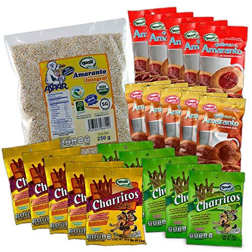 Paquete familiar con 1 bolsa de Amaranto integral Orgánico, 10 Galletas con mermelada de piña o fresa y 10 Churritos de...