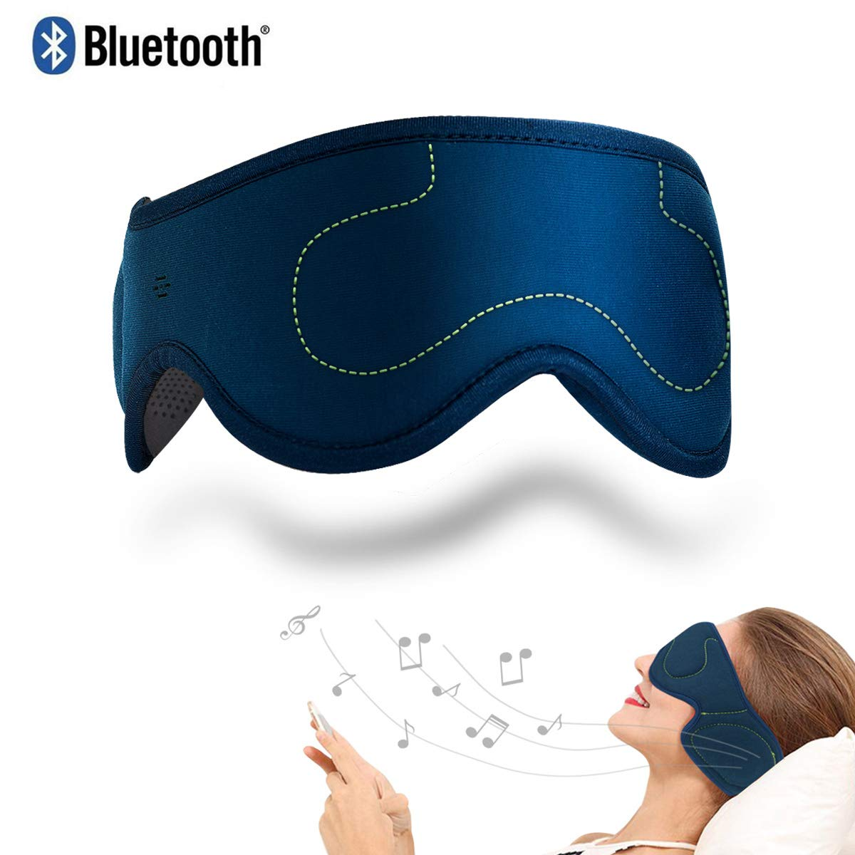 ACOTOP Bluetooth Sleep Eye Mask with Wireless Headphones, Best for Back Sleepers, Stereo Speakers Noise Cancelling for Sleep, Air Travel, Meditation and Relaxation (Navy Blue) by ACOTOP