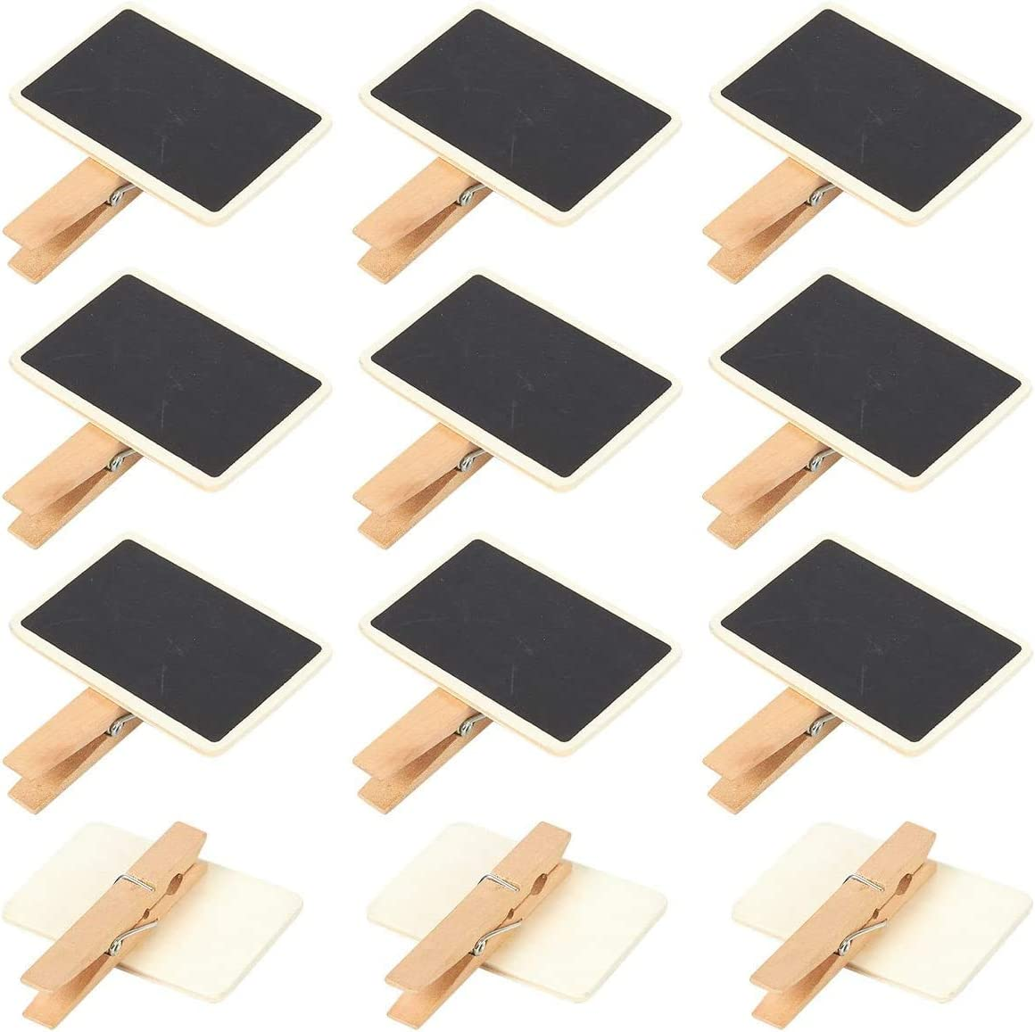 24 PCS Chalkboards Blackboards with Wooden Blackboard Clip Message Board Signs and Labels Clips for Memo, Note Taking, Food Label, Party - Message Board Signs and Daily Home Decoration