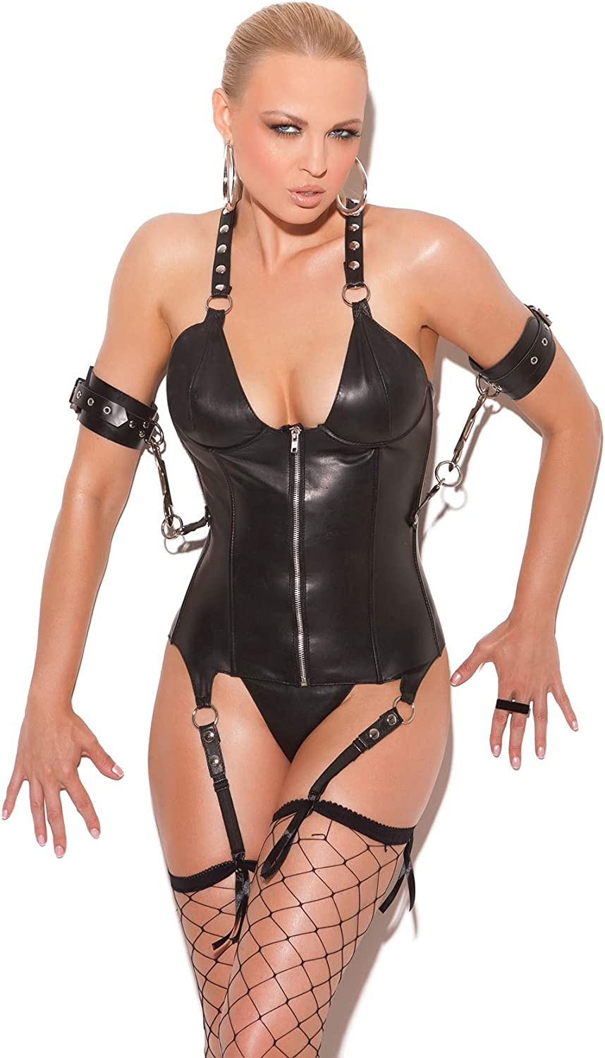 Boning and Side Snaps for Restraints EML3134 Leather Back with lace up Detail Leather Zip Front Corset with Underwire Cups
