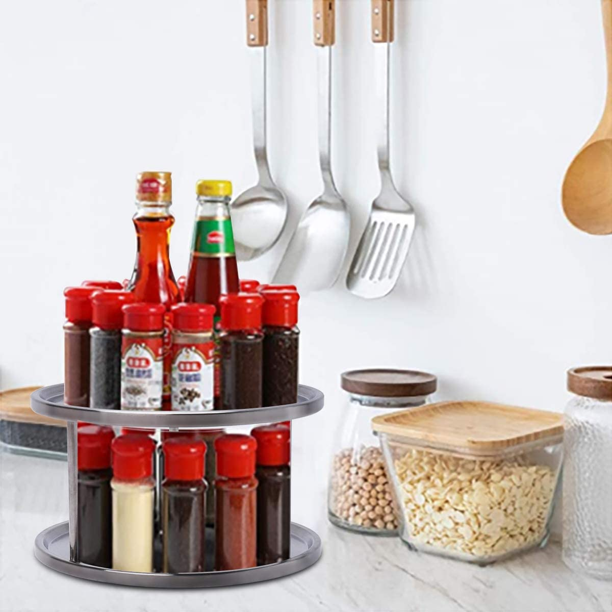 10 Inch 2-Tier 360-degree Rotating Lazy Susan Cupboard Organizer Lazy Susan Turntable Stainless Steel Spice Rack