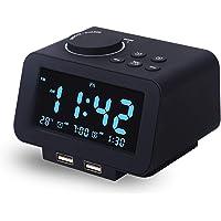 【Upgraded】 Digital Alarm Clock, FM Radio, Dual USB Charging Ports, Temperature Detect, Dual Alarms with 7 Alarm Sounds…