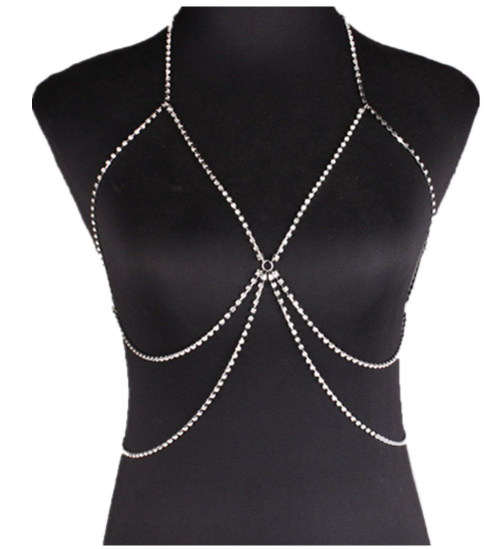 Silver Women Metal Diamonds Necklace Body Breast Chain Bra