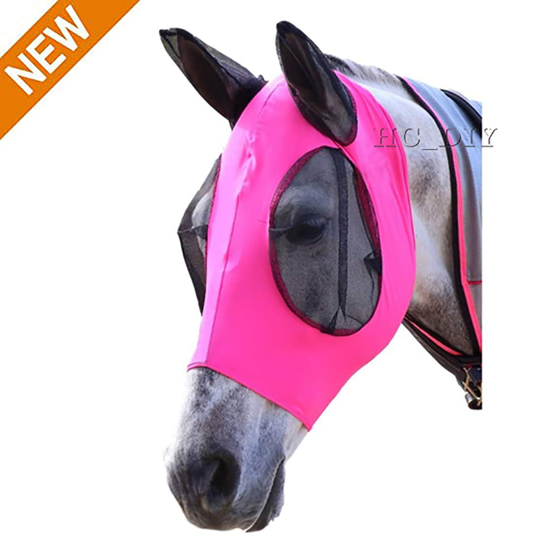 Horse Fly Mask, Fit Horse & Arab Size Fly Mask Professional Comfort Lycra Fly Mask with Mesh Eyes and Ears (Pink) by HCDIM