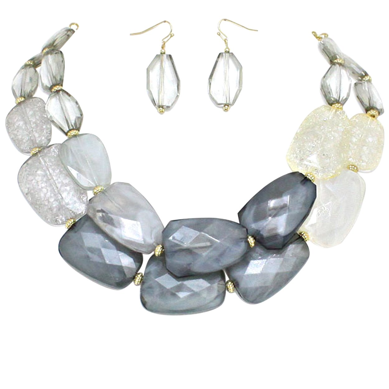 Rosemarie Collections Women's Ombre Polished Resin Statement Necklace Earring Set (Gray and Clear)