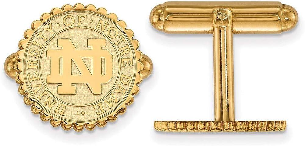 Lex /& Lu LogoArt Sterling Silver w//GP University of Notre Dame Crest Cuff Link