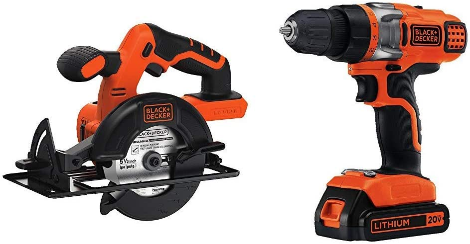 BLACK+DECKER BDCCS20B 20-volt Max Circular Saw Bare Tool, 5-1/2-Inch with BLACK+DECKER LDX220C 20V MAX 2-Speed Cordless Drill Driver (Includes Battery and Charger)