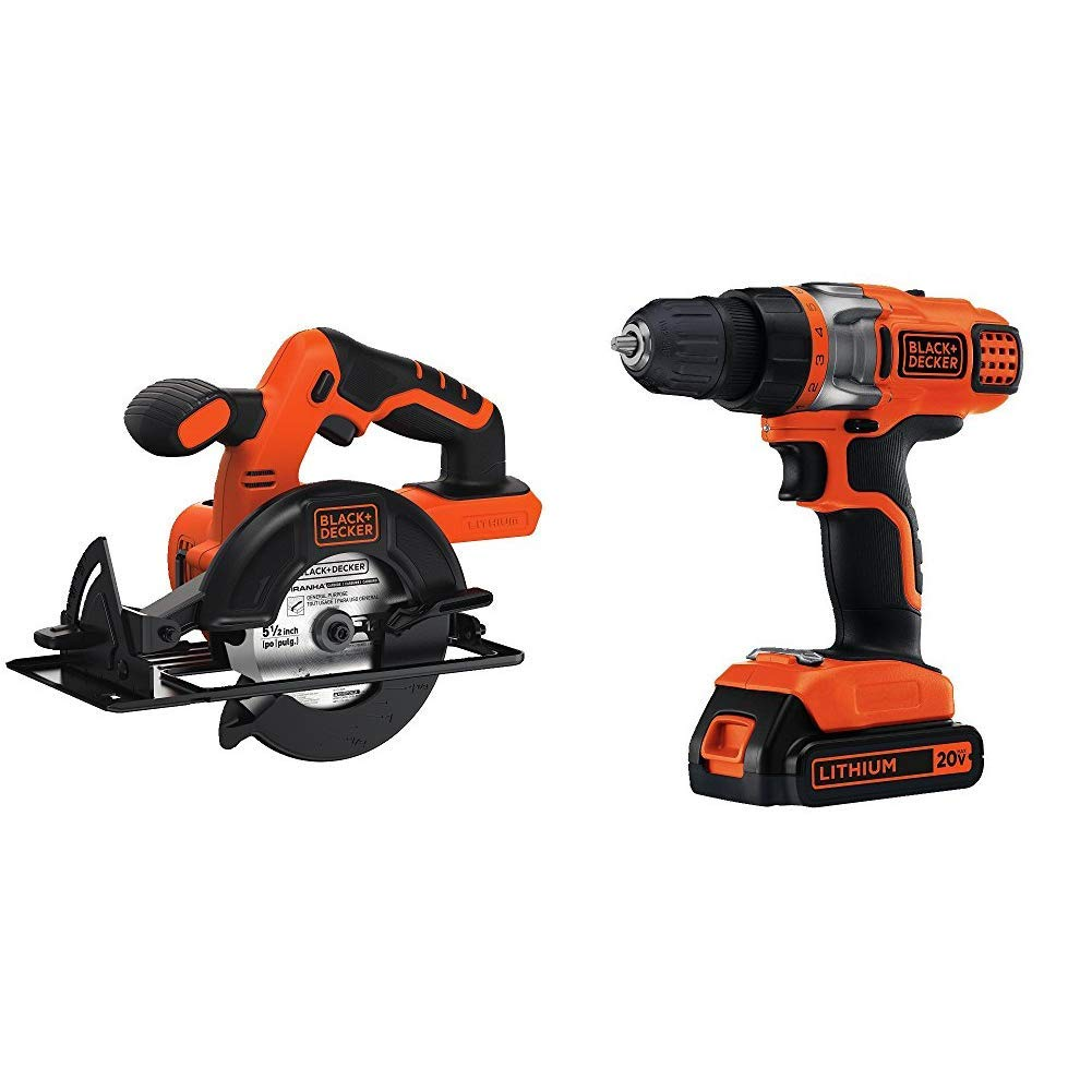 BLACK DECKER BDCCS20B 20-volt Max Circular Saw Bare Tool, 5-1 2-Inch with BLACK DECKER LDX220C 20V MAX 2-Speed Cordless Drill Driver Includes Battery and Charger