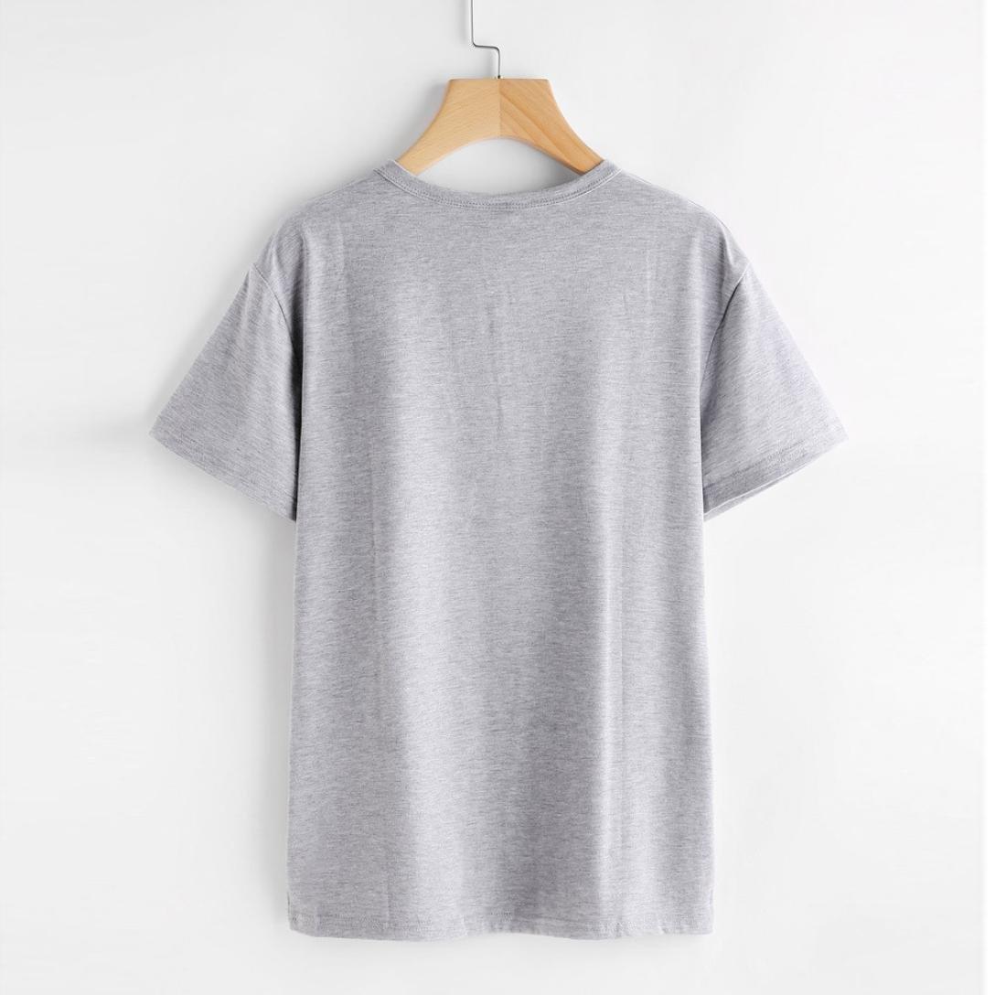 Yeamile💋💝 Camiseta de Mujer Tops Negro Blusa Causal Ocasionales Camiseta Causal de Las Mujeres Ocasionales de Manga Corta O-Cuello Tops Gato Impreso (Gris ...
