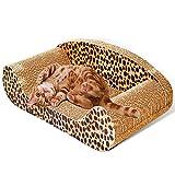 MicroMall Sofa Design Cat Scratching Corrugated Board Toy Scratcher Bed Pad L Size with Catnip
