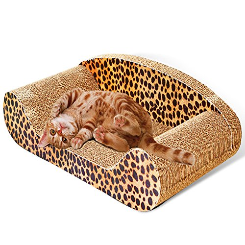 MicroMall Sofa Design Cat Scratching Corrugated Board Toy Scratcher Bed Pad M Size with Catnip