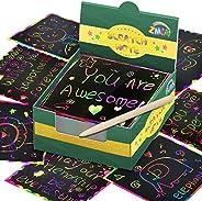 ZMLM Rainbow Scratch Mini Art Notes - 125 Magic Scratch Note Off Paper Pads Cards Sheets for Kids Black Scratc