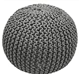 Single Piece Bright Grey Home Decor Disco Cables Pouf, Modern Style, Handmade, Soft Touch, Textured Pattern, Round Shape Pouf To Put Feet Up