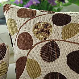 CaliTime Throw Pillow Cover 18 X 18 Inches, Luxury Chenille Cute Leaves, Both Sides, Ecru Brown