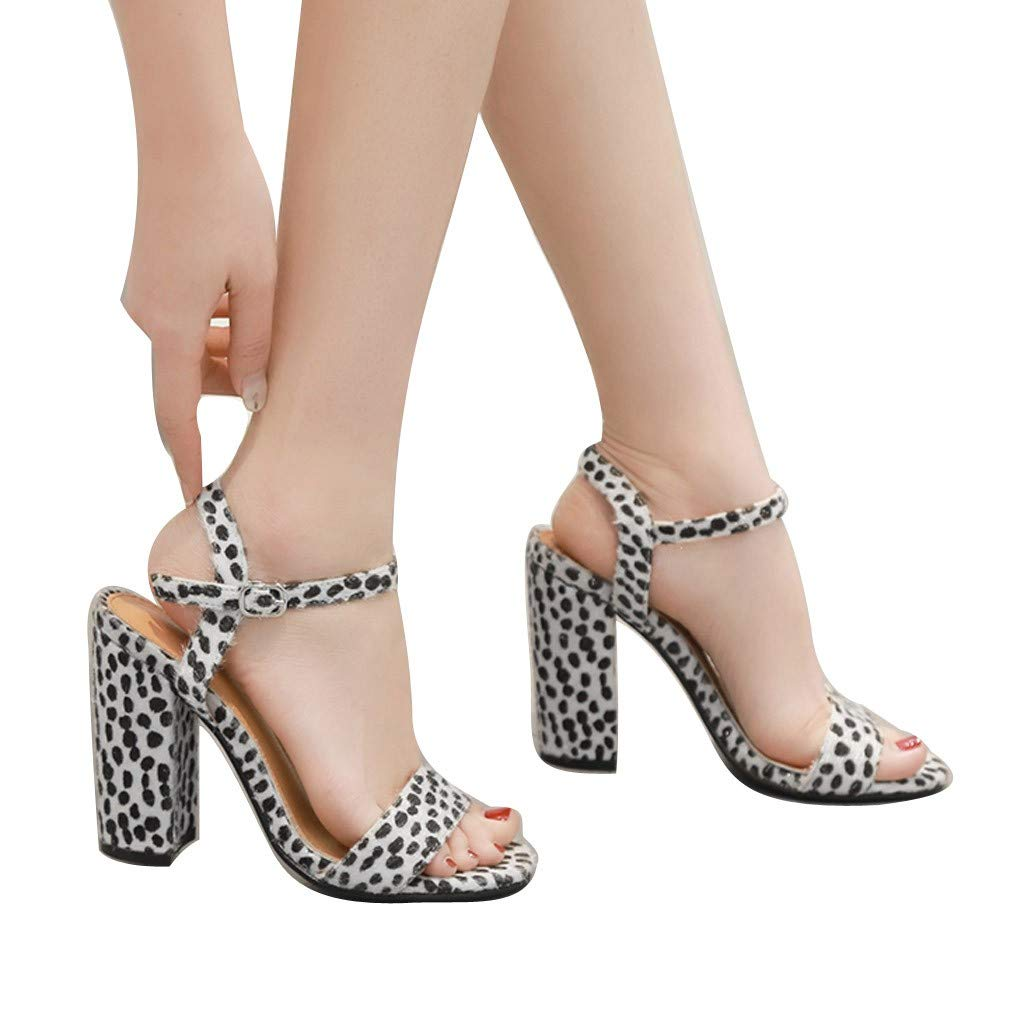 Summer Women Sandals Thick Heel Sandals Ankle One Word Buckle Sandals Shoes by LUXISDE (Image #6)