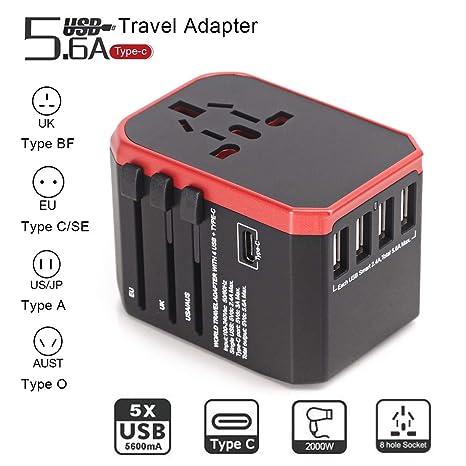 Radpix - Adaptador de viaje para iPhone, iPad, Samsung, Tablet, cámara,