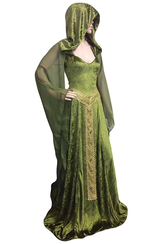Sinastar Medieval Vintage Velvet Lace Up Back Trumpet Sleeves Hooded Gothic Dress Gown by Sinastar (Image #1)