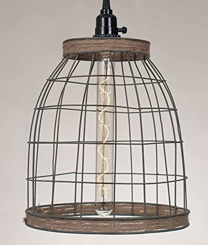 Primitive Wire Country Style 12 H Wire Basket Pendant Lamp with Jute Trim