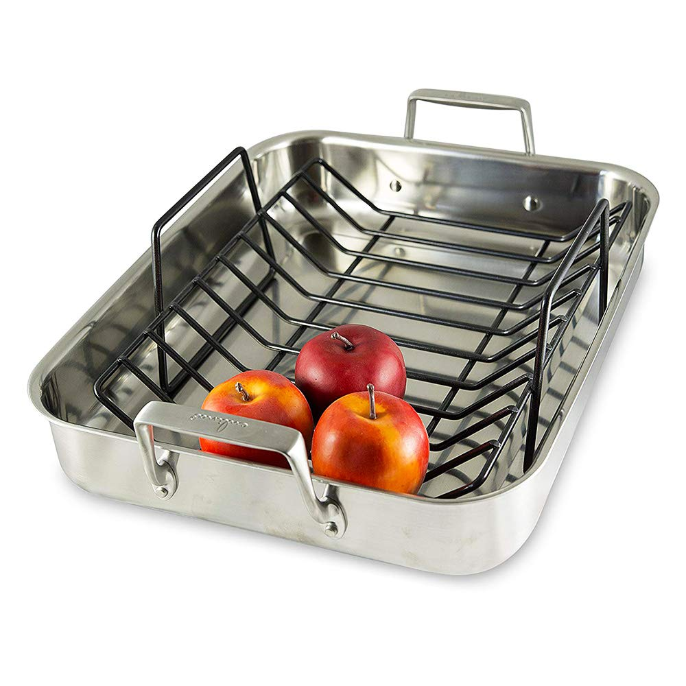 Culina Oven to Stove 16 Roaster Pan Tri-ply Stainless Steel with Non-stick Roasting Rack and Bonus Carving Set. by Culina