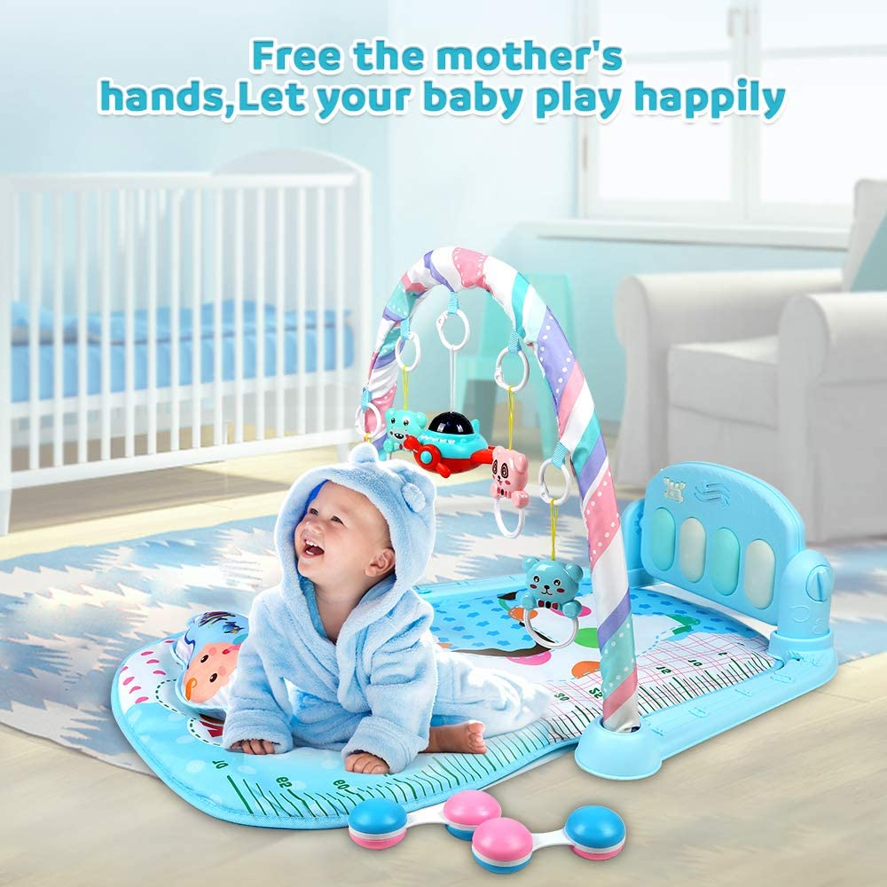 Mirror,Toys Lictin Baby Play Mat Baby Activity Mat Baby Gym Fitness Playmat Kick and Play with Music and Lights Carpet Activity Centre for Newborn Infant Aircraft Story Machine Rattle