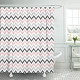 Pink and Gray Chevron Shower Curtain TOMPOP Shower Curtain Abstract Pink Gray Chevron Pattern Artistic Classic Continuity Creative Waterproof Polyester Fabric 78 x 72 Inches Set with Hooks