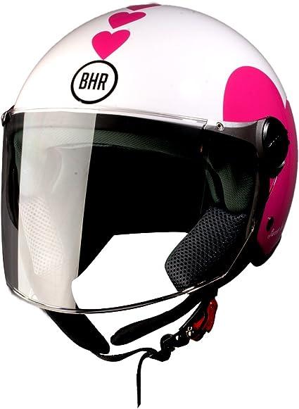 Amazon.es: BHR 93771 Demi-Jet Love 710 Casco de Moto, Color Blanco ...
