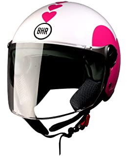 BHR 93771 Demi-Jet Love 710 Casco de Moto, Color Blanco, Talla 53