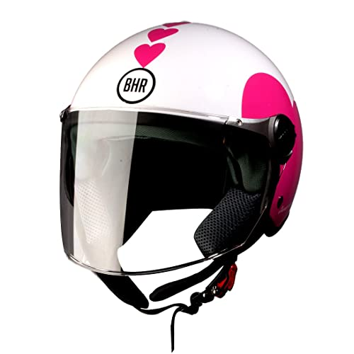 BHR 93773 Demi-Jet Love 710 Casco de Moto, Color Blanco, Talla 57