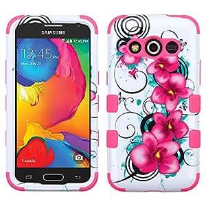 MyBat Samsung G386T Galaxy Avant Tuff Hybrid Phone Protector Cover - Retail Packaging - Morning Petunias/Electric Pink