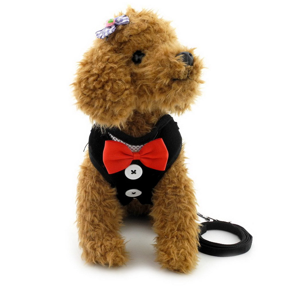 smalllee_lucky_store Bow Tie Small Dog Tuxedo Harness for Puppy Boy, Adjustable Soft Mesh Cat Harness Vest Leash Set Black L