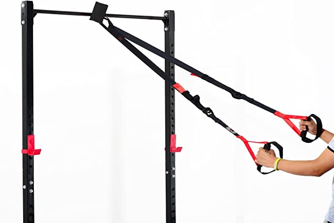HOMCOM Kit Entrenamiento en Suspension Cuerda Ajustable Ejercicios Suspension + 1 Bolsa