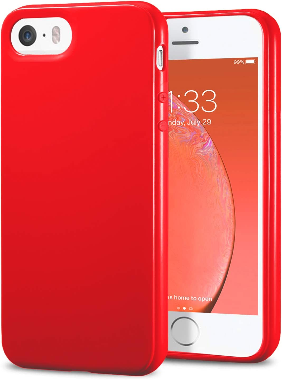 TENOC Phone Case Compatible for Apple iPhone SE 2016/ iPhone 5S/ iPhone 5, Slim Fit Cases Soft TPU Bumper Protective Cover, Glossy Red