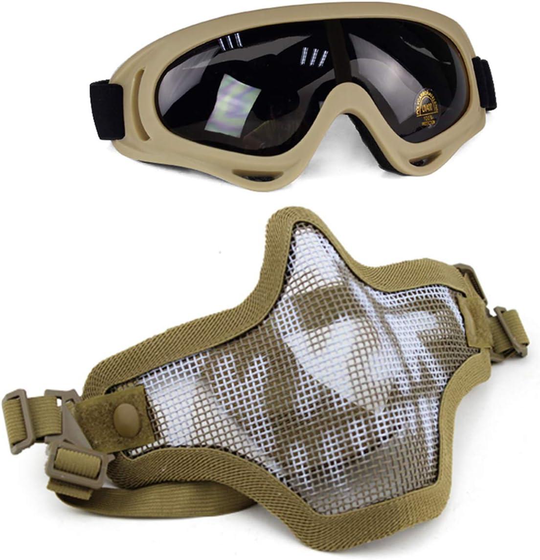 Aoutacc Juego de máscaras y Gafas Airsoft, máscara de Malla de Acero Completa de Media Cara y Gafas para CS/Caza / Paintball/Disparos