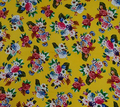 Cotton Fabric For Sewing Floral Print 42 Inches Wide Material By The Yard - Yellow ()