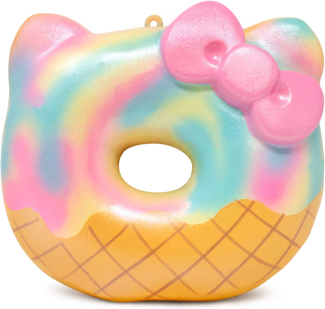 Sanrio Hello Kitty Ice Cream Donut Slow Rising Squishy Toy Keychain (Sherbet) for Party Favors, Stress Balls, Birthday Gift Boxes, Kawaii Squishies for Kids, Girls, Boys, Adults