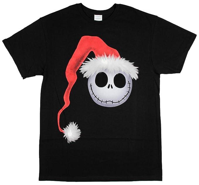 nightmare before christmas t shirt mens jack skellington face santa hat small